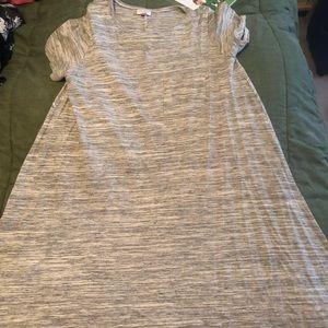 Lularoe medium gray heathered Carly dress EUC